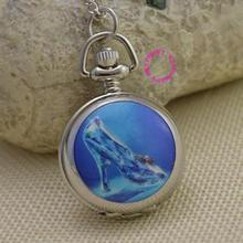 blue Cinderella crystal shoe pocket watch necklace girl ladies good quality lady kid women silver