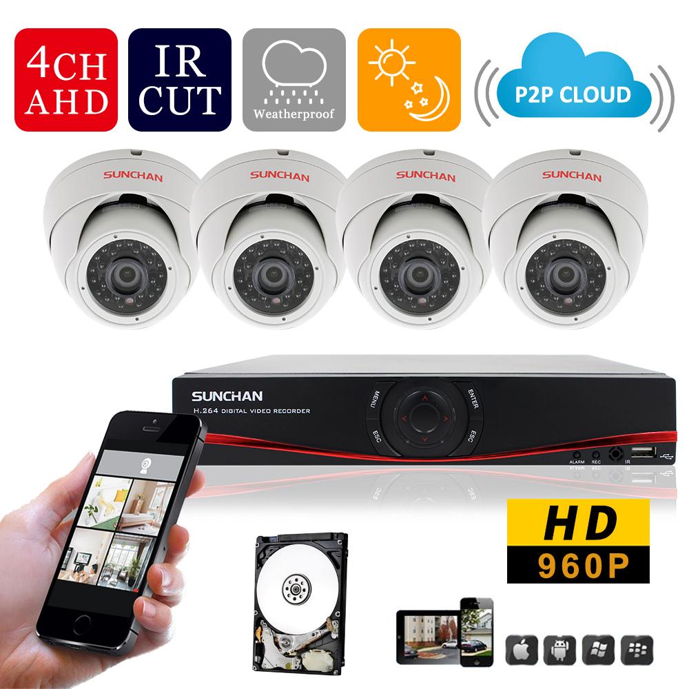 SUNCHAN 4Channel 720P AHD 960H NVR HD AHD-M 4*960P 1.3MP Metal Dome NVR Hybrid DVR Kit 1080P HDMI Security Camera System 1TB HDD(China (Mainland))