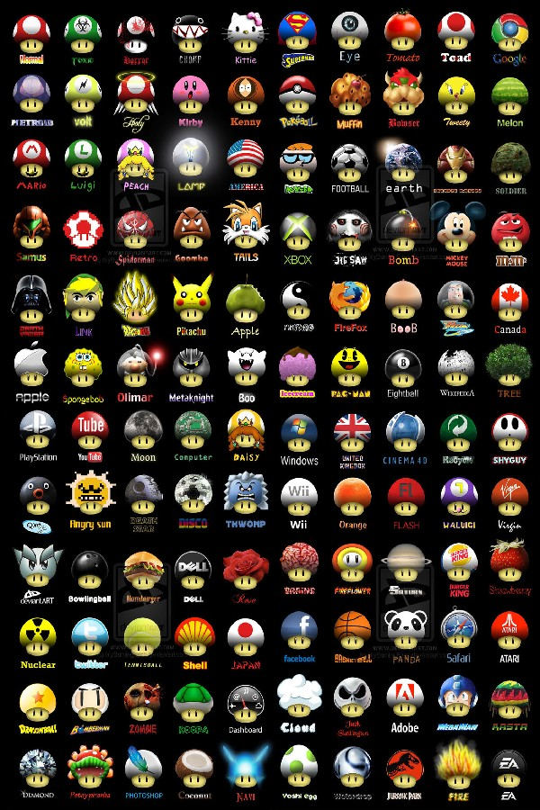 Cartoon Super Mario Bros Game Poster Different Kinds Of Mushrooms Silk Fabric Poster Print Great Pictures On The Wall For Gift(China (Mainland))
