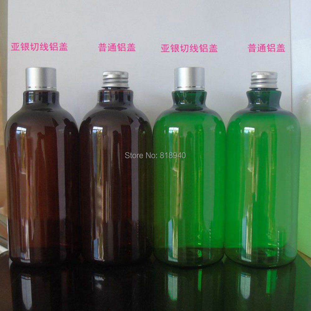2 X Plastic Lotion Bottle Makeup Shampoo Dispenser Container Bathroom Brown/Green 500ML(China (Mainland))
