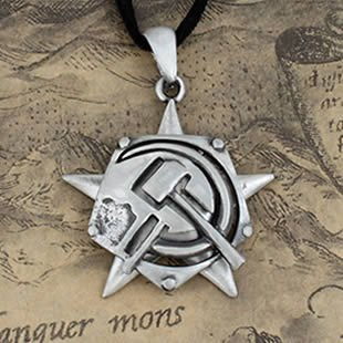 Red Alert Soviet Alliance Logo Charms Necklace Mens Pewter Jewelry Pendant Free Shipping On $15 Order(China (Mainland))