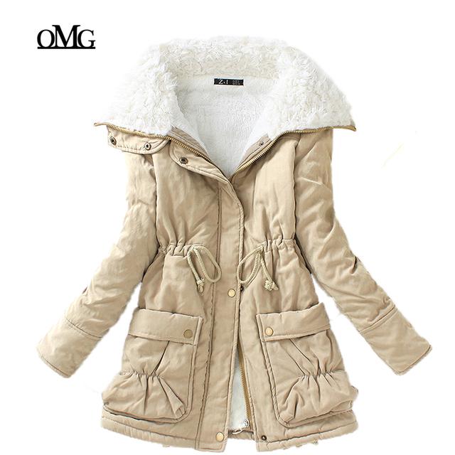 Новые зимние парки женщин тонкий хлопок пальто толщиной пальто средней длины плюс ...