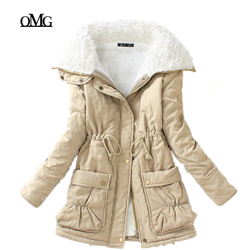 new winter parkas women slim cotton coat thickness overcoat medium-long plus size casual overcoat wadded snow outwear(China (Mainland))
