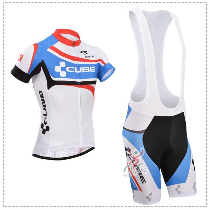 NEW! 2015 White Color Cube Team cycling jersey/ cycling clothing/ cycling wear +Bib Shorts S-6XL Size K-36 Free Shipping(China (Mainland))