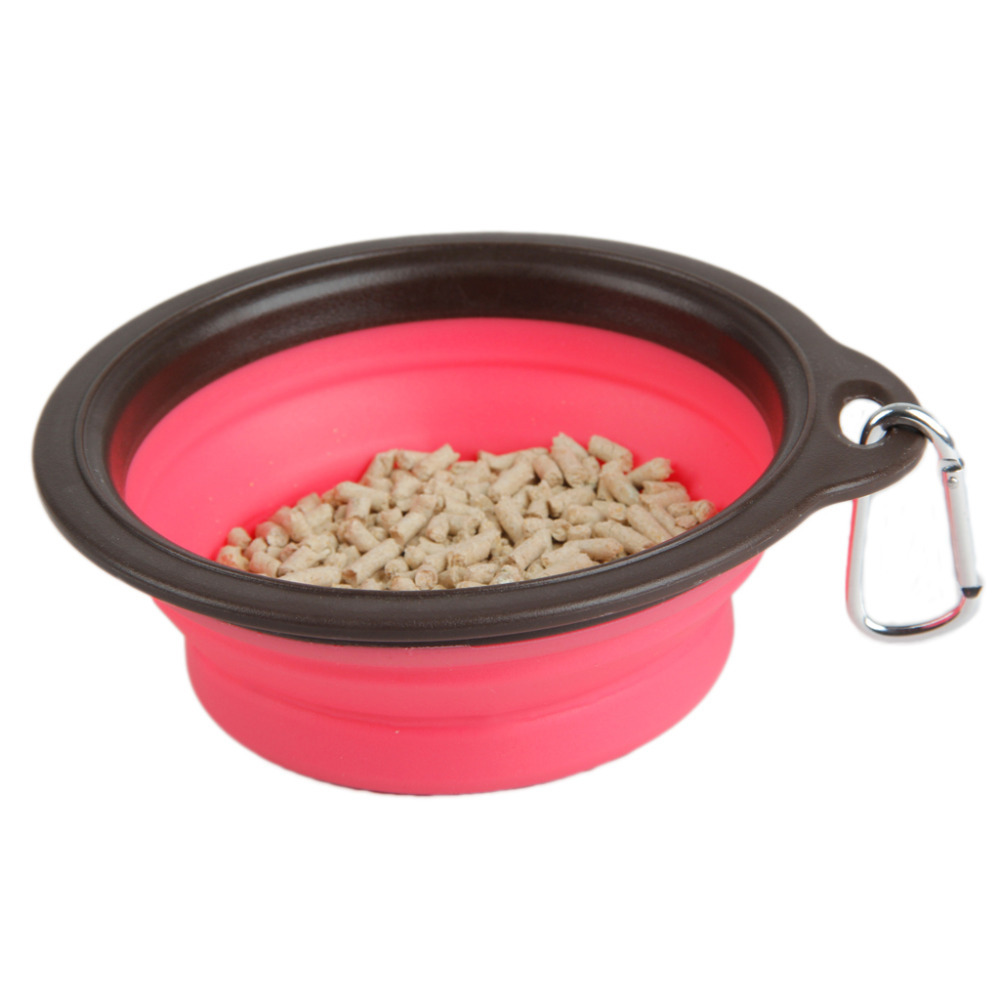 Free Shipping Pet Dog Cat Bowl Puppy Drinking Collapsible Easy Take Outside 3 Colors Feeding Water Feeder Travel Bowl Dish(China (Mainland))