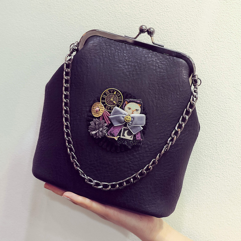Embroider Cat Women Small Handbag Frame Mini Shoulder Messenger Bag Casual Chain Crossbody Bags For Girls Female Bolsas(China (Mainland))