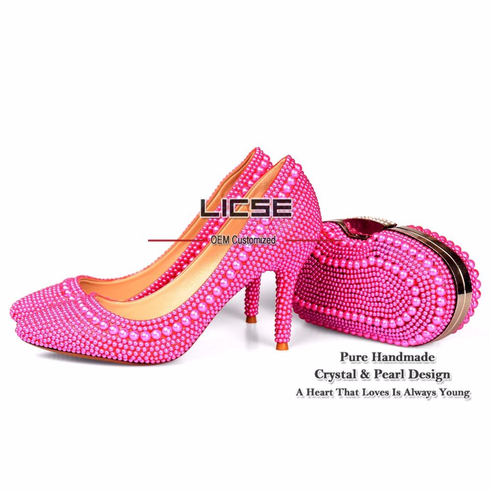 LICSE Womens Italian Shoe Bag Butterfly Pink Bride Handmade 10cm High-heeled Platform Pumps Women Elegant Shoes and Bags Set(China (Mainland))