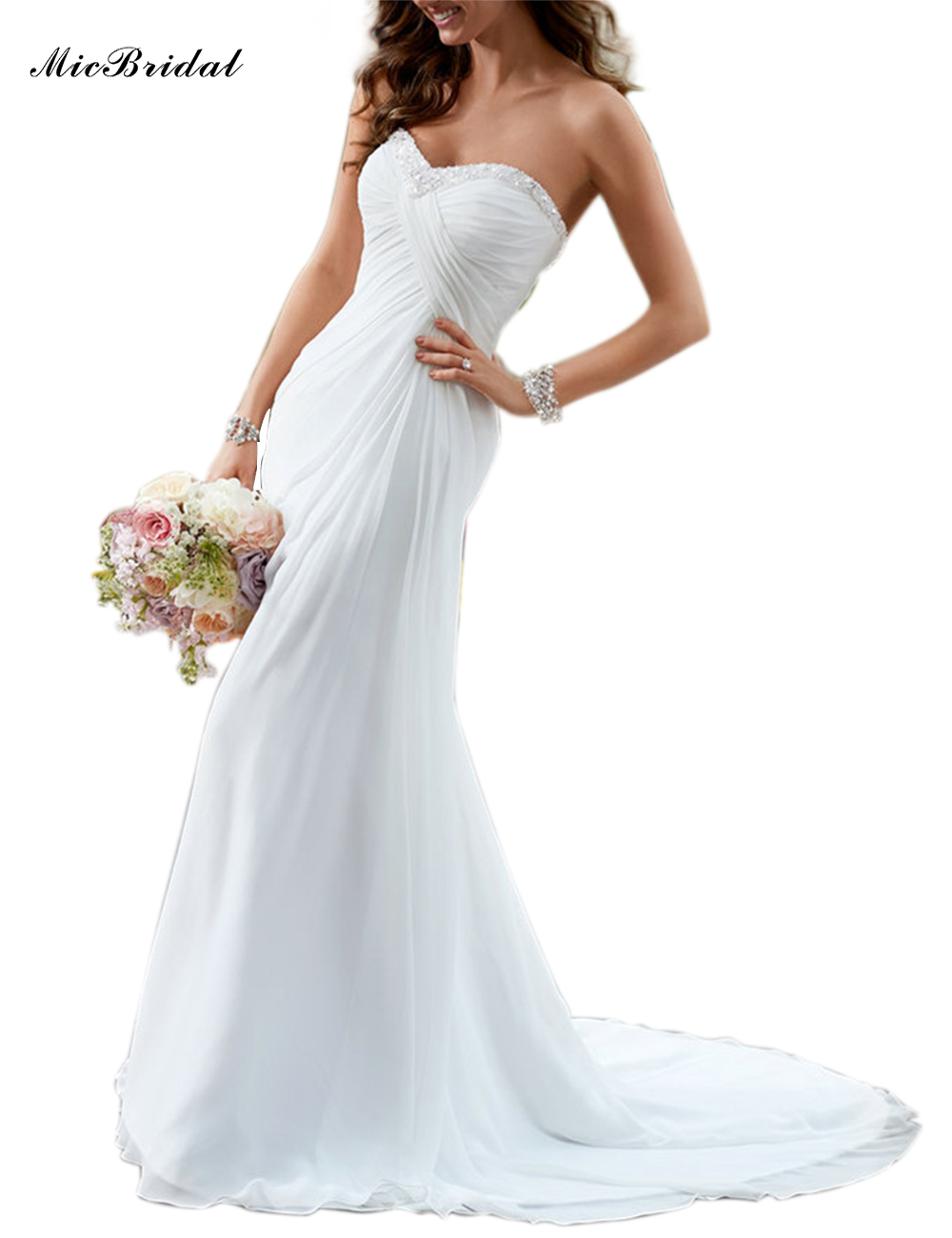 Micbridal Cheap Chiffon A Line Wedding Dress Made In China