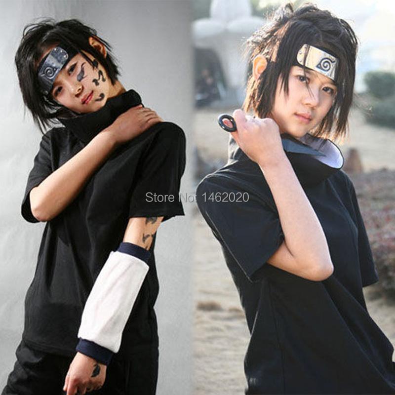 Amime Naruto Unisex Cosplay Costume Sasuke Uchiha The 2nd Generation of suit emboitement (Tops Shirt+Short Pants)(China (Mainland))