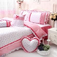 Korean White Red Ruffled Bedding Set Princess Countryside Bedding Set Cute Girls Duvet Cover Set(China (Mainland))