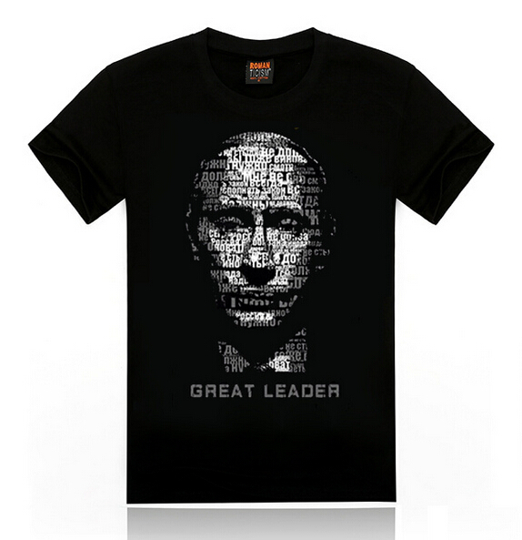 2015 Fashion Men's T Shirts Great Leader Putin Cotton Summer T-shirts Male Short Sleeve Tee tops Large Size 2XL 3D Print 1860(China (Mainland))