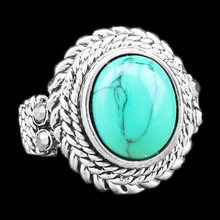 Fashion Jewelry Tibetan Alloy Antique Silver Plated Wheat Plant Oval Turquoise Bead Rings TR231