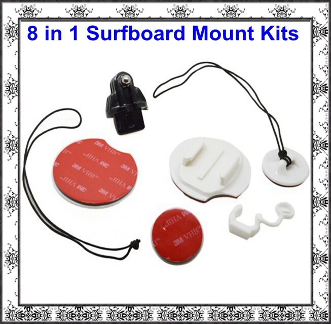 GoPro Accessories Surfboard Surfing Fasten Mount Kit & Tethers&FCS Plug & Rubber Locking Plug For Gopro Hero HD 3+/3/2/1 SJ4000(China (Mainland))