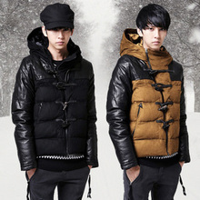 Free Shipping 2013 Winter Slim Thickening Cotton Clothes Men's Hood Patchwork Cotton-Padded Jacket Male Outerwear