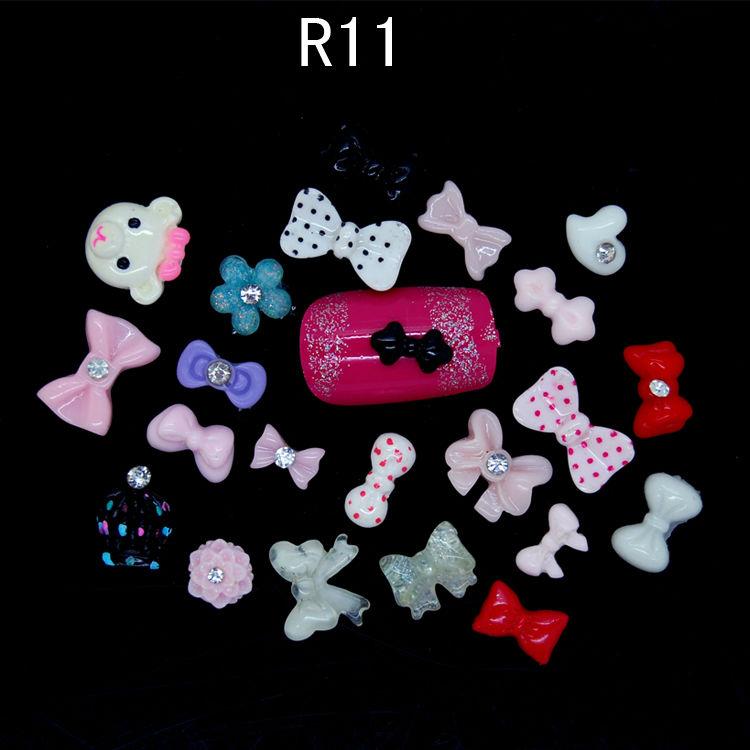 R11 500pcs/lot New Nail art Mixed Nail Art Resin 3D Bow Flower Polymer clay Flower Tips UV Stickers DIY Decorations nail gel(China (Mainland))