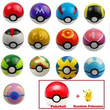 13 Color Pokemon Poke Ball 1Pcs Pokeball + 1pcs Free Random Pokemon Figures Classic Anime Pikachu Super Master Pokemon Ball Toys(China (Mainland))