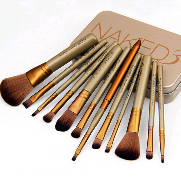 Retail Metal box 2015 New 12pcs/set NAKED3 Makeup Cosmetic Brushes Set professional Powder Foundation Eyeshadow Lip Brush Tool(China (Mainland))