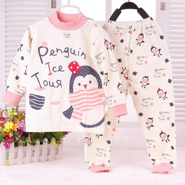 Sl-15 милый младенцы пижама весна девочки комплекты для сна пингвин печать осень ...
