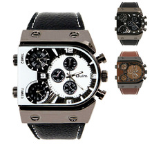 Fashion Casual New Style Russia Men s Combat Three Time Zones Military Army PU Strap Analog