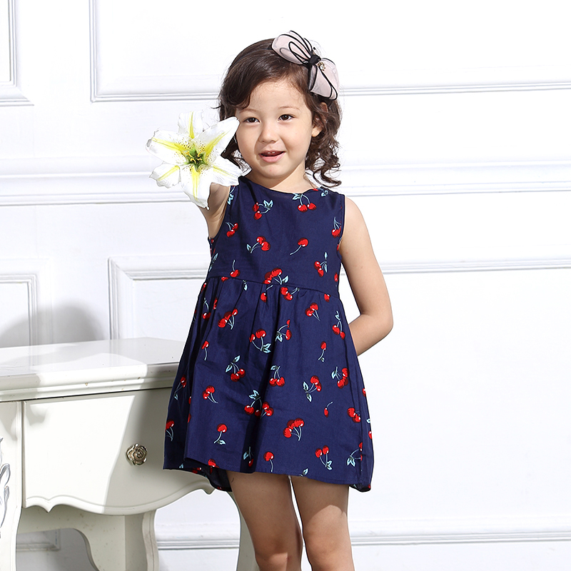 Baby Girl Dress Summer Kids Teenagers Sleeveless Print Pattern Cotton Dresses Clothes For Girls 2016 Children Toddler vestidos(China (Mainland))