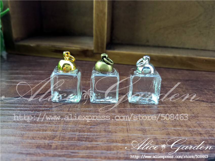 20sets/lot 13mm squares Glass Bubble with cap set jewelry finidings supplies handmade glass vial pendant glass pendant(China (Mainland))