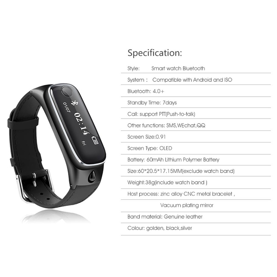 New M6 Fashion Bluetooth Smart Bracelet Sports Smartband Leather Wristband Sleep Monitor Call Reminder Earphone for IOS Android