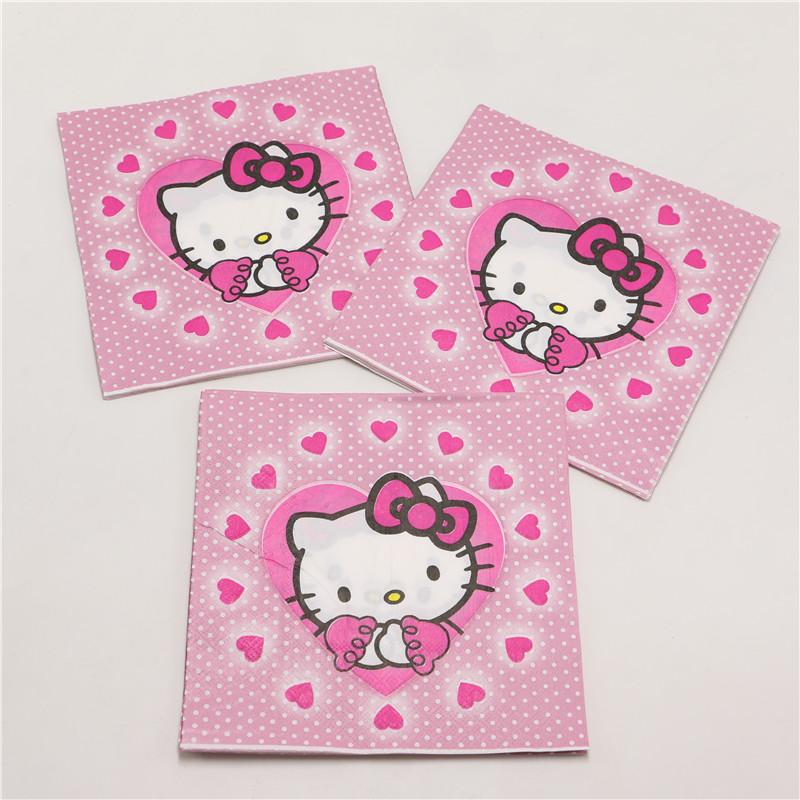 cute hello kitty cartoon theme paper napkin outdoor decor 20pcs/lot party decoration supplier 33cm*33cm kids festival favor 0826(China (Mainland))