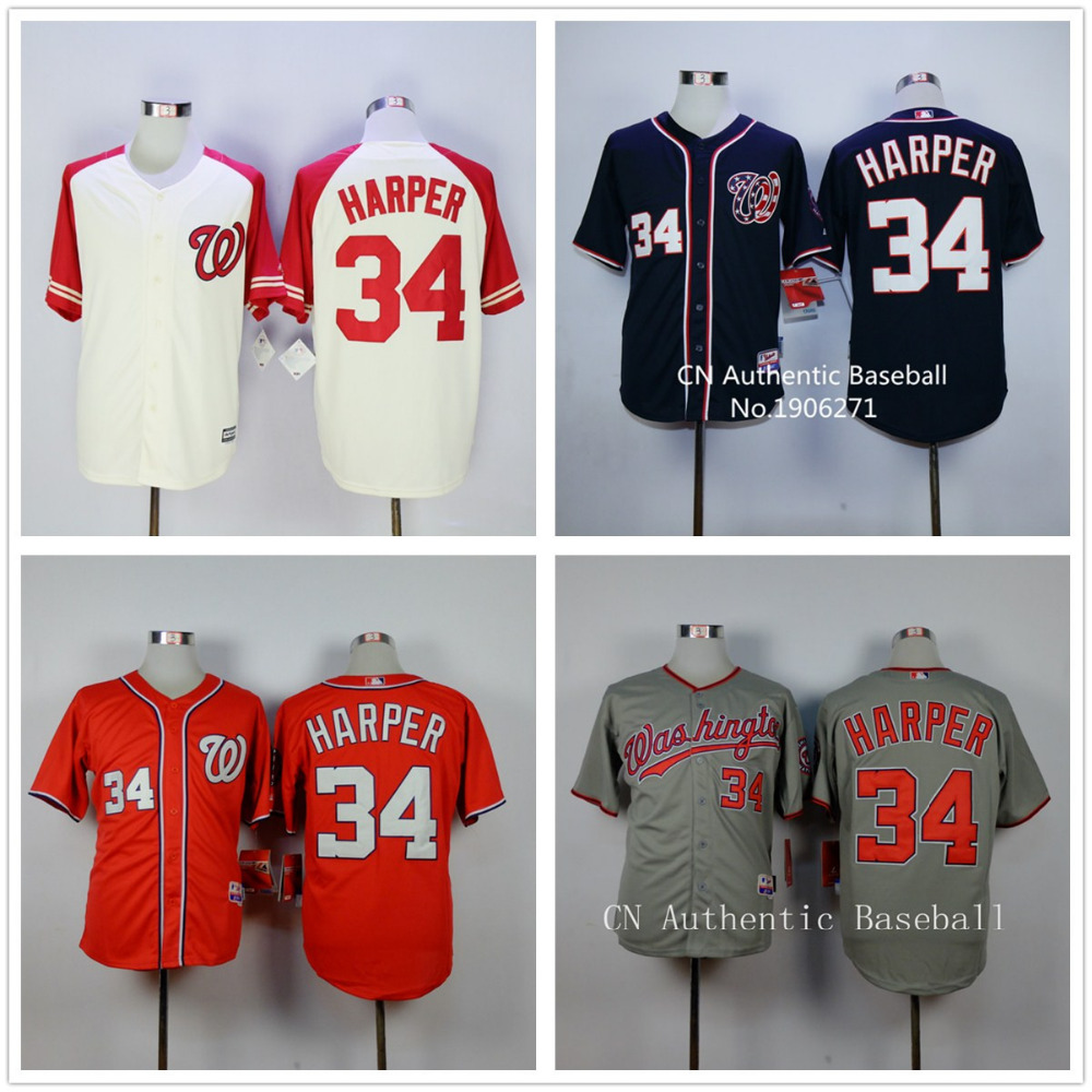 2015 Men's #34 Bryce Harper jersey New Stitched Washington Nationals red white grey blue Baseball jersey cheap Authentic shirt