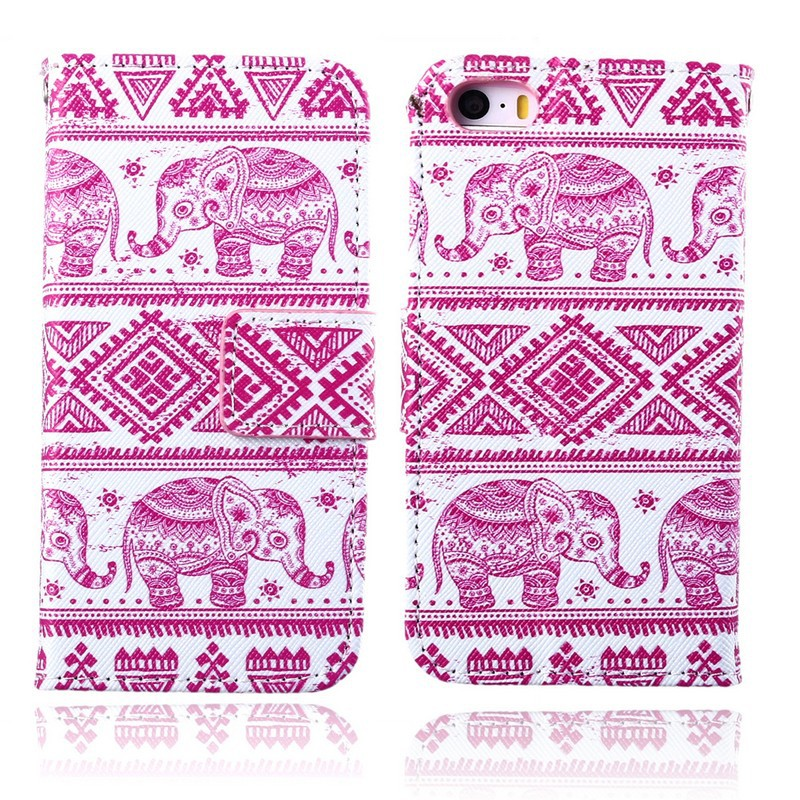 2015 New On the Market Elephant Print Pink Mobile Phone Case For iPhone 5 5s Flip Stand Cellphone Cover With Card Holder(China (Mainland))