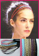 New thin skinny braid double headband faux leather braided hair band(China (Mainland))