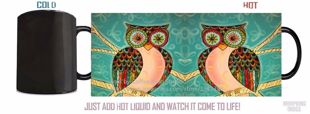 owl art mugs morph cup gifts magical heat sensitive Black colour change morphing coffee Tea Cups white mug(China (Mainland))