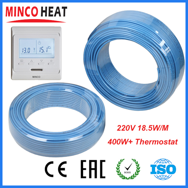 Фотография 220V Single Conductor Underfloor Heating Cable 400W+ Programmable Thermostat