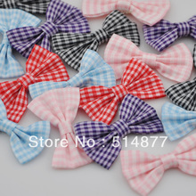 100pcs U Pick font b Tartan b font plaid Ribbon Bows flower Appliques craft Lots mix