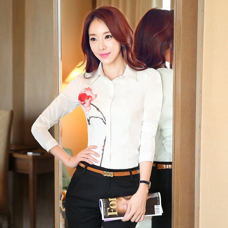 2016 autumn new Korean high-quality professional women bottoming blouse FM1510(China (Mainland))
