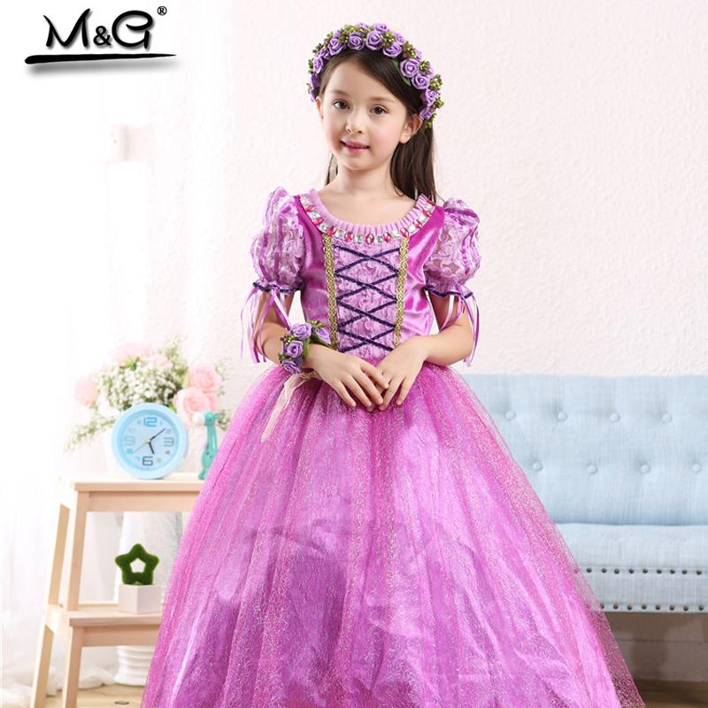 Hot Sale purple sofia princess costume toddler girl summer dresses girls Snow Queen lace tassel sequin Cosplay Anna Elsa dress(China (Mainland))