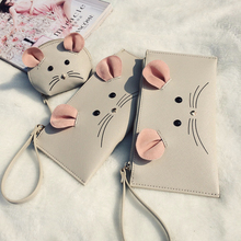 2016 New arrival ! Cute little mouse Cion Purse  animal wallet mini purse PU leather envelope purse(China (Mainland))