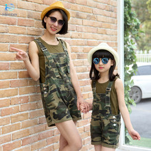 Mother daughter dresses clothes Denim overalls + T-shirt camouflage Women denim overalls suits family matching clothes 20#