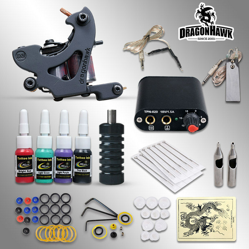 Complete Tattoo kits 8 wrap coils guns machine 1/6oz black tattoo ink sets power supply disposable needle free shipping(China (Mainland))