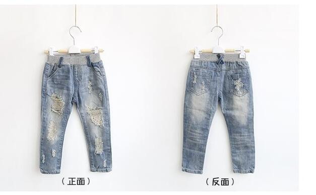 Wholesale (5pcs / the) -2016 new children jeans girls pants colorful spring hole jeans shorts casual wholesale children
