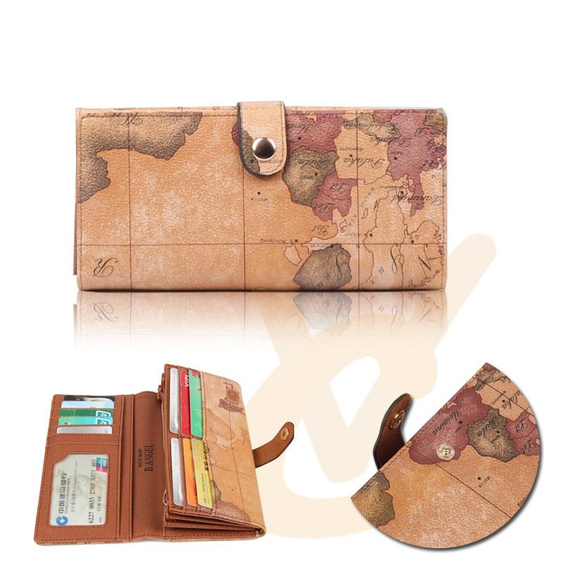 2015 Fashion Women Purses Mens Long Wallet ID Card Clutch Wallets World Map Bag(China (Mainland))