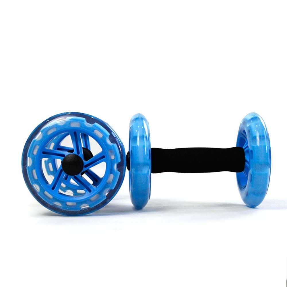 1 Pair AB Wheel Rollers with Double Wheels Abdominal Waist Machine-Push-up Stands Bar Green Pink