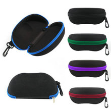 1pc New 2015 Portable Zipper Eye Glasses Sunglasses Clam Shell Hard Case Protector Box