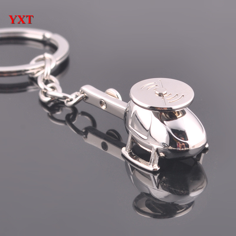 New Design Silver Metal Mini 3D Model Helicopter Car Key Ring Chain Collection Polished Lovely Gift For Friend(China (Mainland))