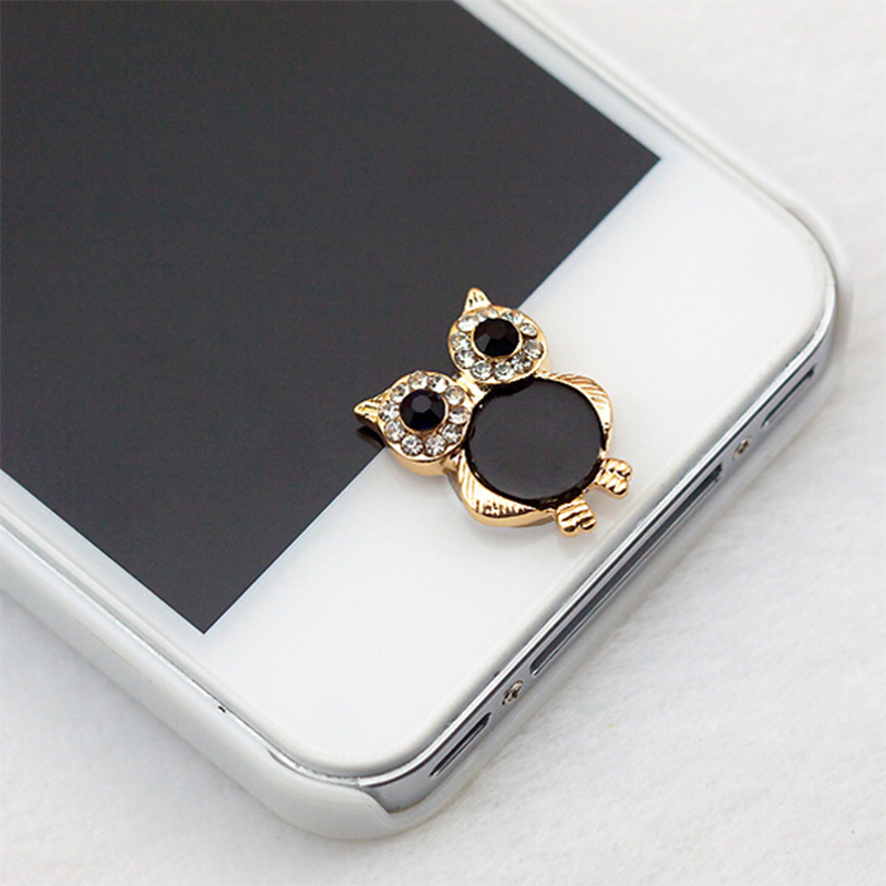 4pcs Owl 2016 Hot 3D Rose Crown Owl Home Button Sticker For iPhone 4/5/5s/6 ipad/mini Gift(China (Mainland))