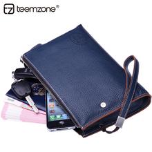 teemzone Fashion Business Handbag Men's Wrist Strap Cowhide Genuine Leather Large capacity Wrist Clutch Bag handbag 3 size J50