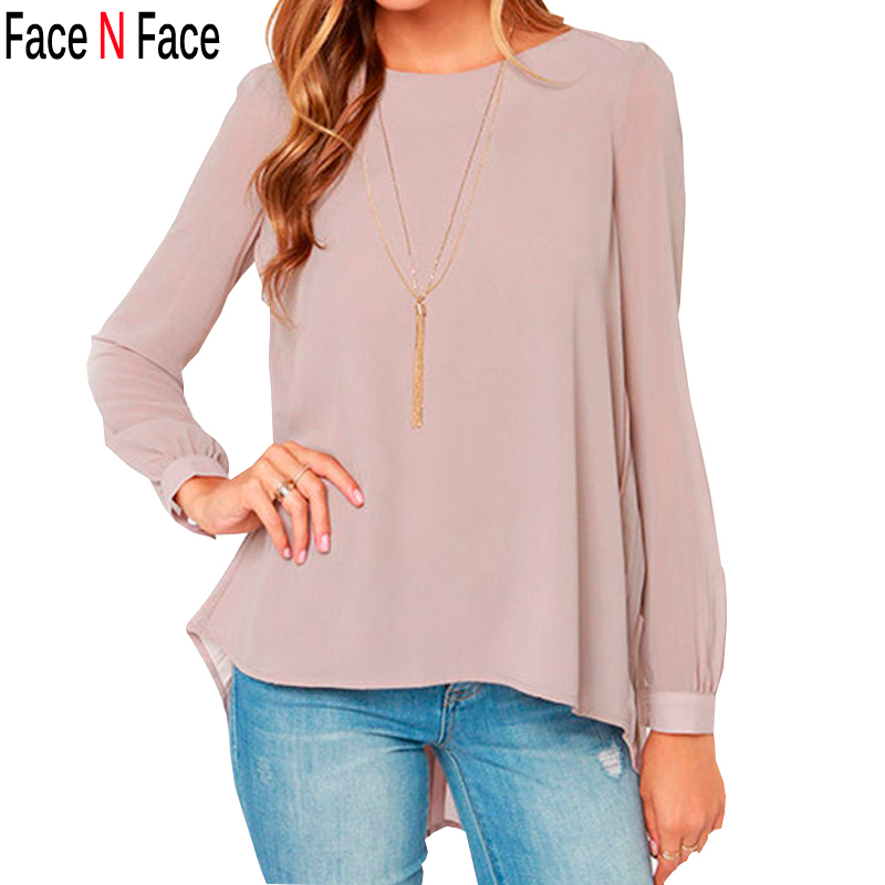 Facenface Ladies Office Blouse Shirt 2015 New Arrival Women Clothing Vintage European Style Nude Long Sleeve Pleated Back Blouse(China (Mainland))