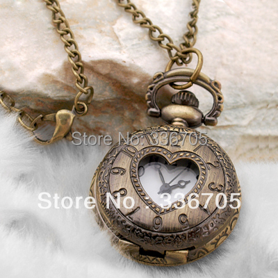 Min.Order  Antique Bronze Round Necklace Pendant Clock Watch   HOT Sale!