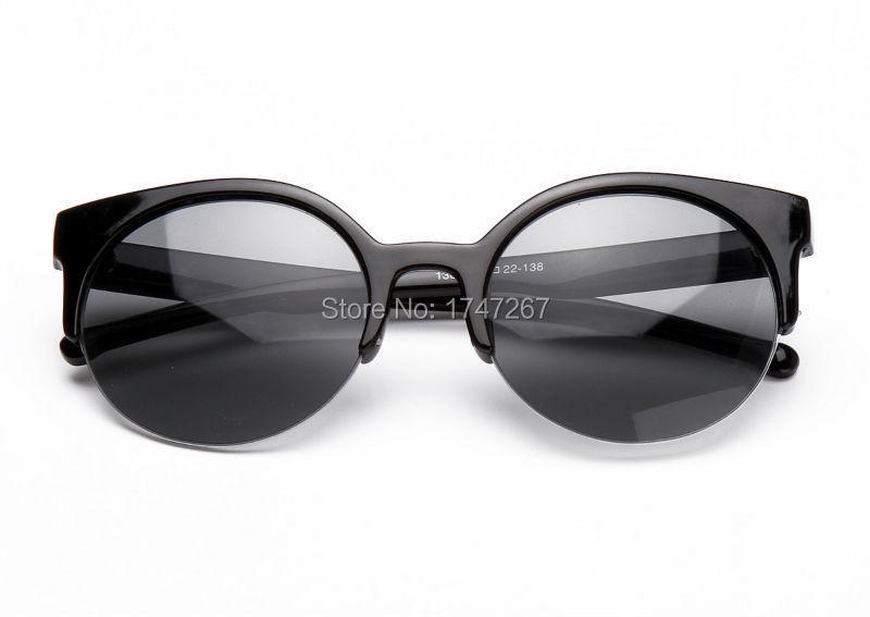 Hot Sale Fashion Vintage Sunglasses Retro Cat Eye Semi-Rim Round