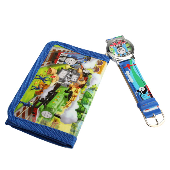 2 In 1 Cartoon Watch With Purse Thomas & Friends Children's Quartz Watch Lovely Purse For Kids(China (Mainland))
