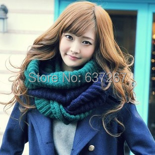 2014 Women New Fashion double colors Shawl Knitted Wool Neck Warmer Cowl Wrap Scarf thicken winter warm Circle - BOBO Co. Ltd store